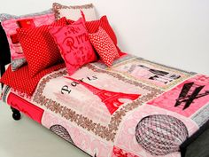 Paris Barbie Doll Bedding Set by ElleLaLaBoutique on Etsy