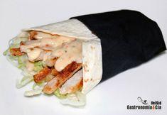 Wrap de lomo con salsa de queso y ajo