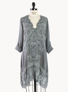 Mirror Embroidered V-Neck Tunic - Plus Size - Tops - Clothing