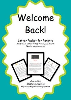 Welcome Back letters for the parents.  Editable!!!!  (classroom tested)  $2.00