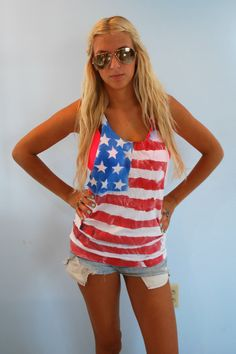 Spray Painted American Flag Tank Top