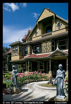 Statues, fountain, and facade. Winchester Mystery House, San Jose, California, USA  The Winchester Mystery House is a mansion in Northern California, once the personal residence of Sarah Winchester, the widow of gun magnate William Wirt Winchester.