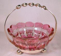 Ruby Flash Glass Sweetmeat Dish, Miniature Brides Basket