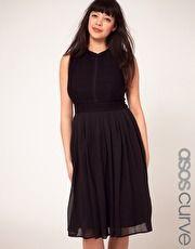 ASOS CURVE Dress With Chiffon Midi Skirt And Zip Back