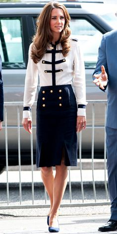 The Duchess of Cambridge paid a visit to Summerfield Community Centre in a nautical-inspired ensemble from Alexander McQueen.