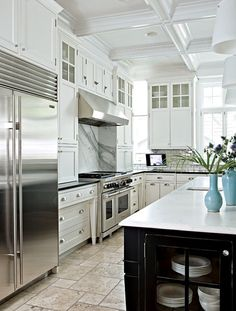 White Kitchen, Beautiful Cabinetry, Black Island, Amazing Coffered Ceiling Detail.