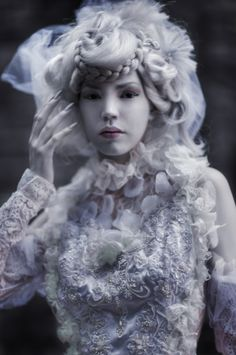 jchan design, inspiration, makeup, goth, ghosts, dark beauty, doll face, china, editorial fashion