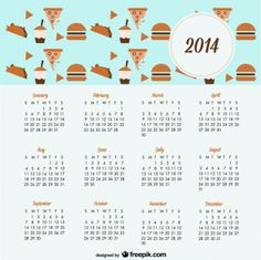 2014 Calendar Cookies and Sweets Design