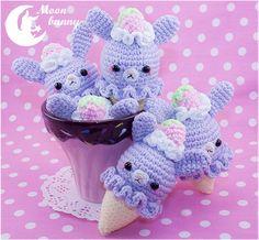 rabbit charm, charms, rabbits, crochet ice cream, crochet icecream, conejo icecream, moon bunni, icecream rabbit, amigurumi
