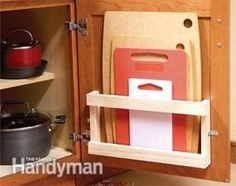This rack makes finding and storing cutting boards easy.