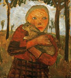 girl with rabbit painting | Girl with rabbit - Paula Modersohn-Becker as art print or hand painted ...