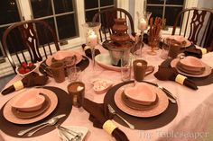 A chocolate valentine - with pink! table settings, chocol valentin, thème chocolat, chocolates, valentine day, color combinations, holiday season, valentin tablescap, tabl set