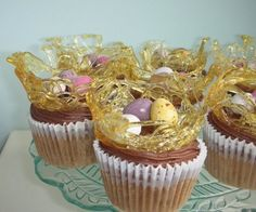 Toffee Easter nest cupcake toppers. Shape using back of a cupcake pan.