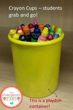 Organization tip blog post - Crayon cups -these are awesome and I use them ever year!! More tips for an organized classroom included