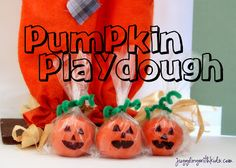 Here's a nice little alternative to pass out at classroom Halloween parties.  Pumpkin Pie Spice Jack-o-Lantern Play dough