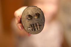 Potato Print Clothing. DIY tutorial. Look! It's a little potato skull. Fun summer activity!