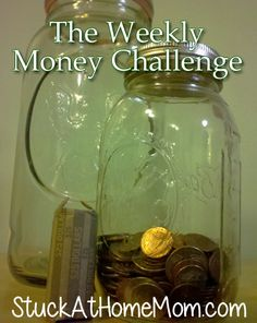 Saving Dollar COINS - Great Idea to save with Kids.  The Weekly Money Challenge [easy money saving]