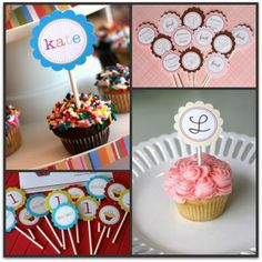 Cupcake toppers-I like the kate one. Use a neon backround so it will glow and glow in the dark paint and stamps for the name.