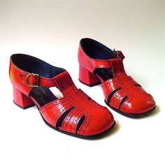60s vintage Vivid Red T Strap Casualets Sandals. $65.00, via Etsy.