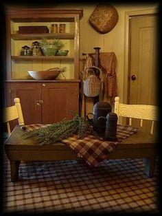 riser wooden benches, primitive table centerpiece, cupboard, primitive country kitchen, kitchen tables, country kitchens, table centerpieces, summer kitchen
