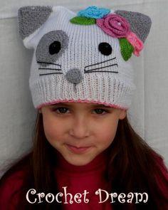cat girl , gorro para niña tejido a crochet - artesanum com