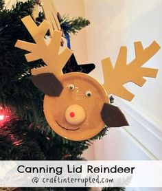 Craft, Interrupted: CBC Day 17 - Canning Lid Reindeer Craft