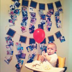 Instagrammer @Aimee Merritt set up the most adorable display for her even more adorable son's 1st birthday. Prints were laid out representing each month leading up the big day. Love this! First Birthday Photo Display, Fenc, First Birthday Photos, 1St Birthday, First Birthdays
