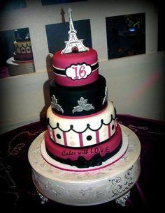 Fushia and Black Paris themed cake