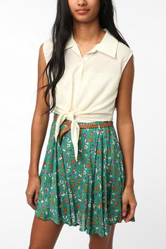 Reverse Silky Tie Front Floral Skirt Dress  #UrbanOutfitters