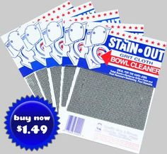 Stain-Out Grit Cloth Bowl Cleaner  BBQ Grill Cleaning Pad.  Personal Experience...the BEST toilet bowl ring cleaner EVER.  Works in seconds with hardly any work at all!!! Bowl Ring, Water Ring, Bowl Cleaner, Hard Job, Ring Cleaner, Toilet Bowl, Hard Water Stains In Toilet