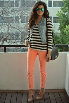 Color from the jeans pattern with the shirt and texture from the denim vest = a cohesive casual outfit