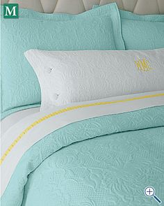 Love the aqua & yellow, but my husband would never let me put this in our bedroom.