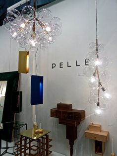 2014 Architectural Digest Home Show- Pelle lighting. Beautiful bubble chandeliers-love the clusters!