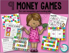 9 Money Games (For teaching coin recognition & counting bills) from The Bender Bunch on TeachersNotebook.com -  (29 pages)  - coin recognition games
