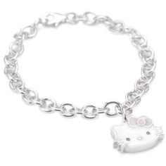 Hello Kitty Pink Enamel Bow And Sterling Silver Charm Bracelet,7