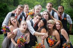 Silly, nontraditional wedding portraits from a DIY, purple & orange, Northern Virginia wedding. Images by Kristi Odom Photography.