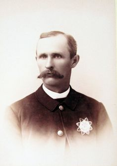 """A Los Angeles Police Department officer in the late 19th century. His badge (No. 15) is a""""Series One,"""" issued between 1876 and 1890, and are highly valued collector's items.  The photo was taken at the Treslar Photographic Art Studio, once located at 213 1/2 N. Spring Street.  Bizarre Los Angeles."""