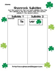 St. Patrick's Day Open and Closed Syllables. Students practice breaking words apart into open or closed syllables. $