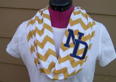 Notre Dame Monogrammed Gold & White Game Day Chevron Infinity Scarf Knit Jersey on Etsy, $28.00 [i need this!]