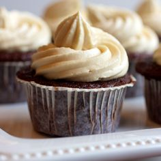 Chocolate Guinness Cupcakes with Bailey's Cream Frosting from Susan @OurFamilyEats