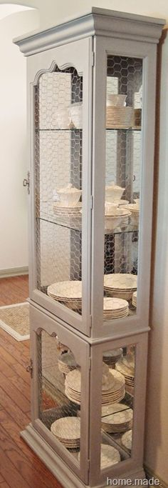 Replace Glass with Chicken Wire.  Love it! must do this with my hutch