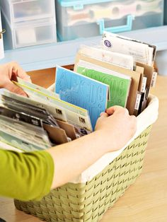 Use Pretty Baskets for Filing Packaged Stickers & Embellishments. Cardboard Dividers Keep Similar Stickers & Embellishments Grouped Together.