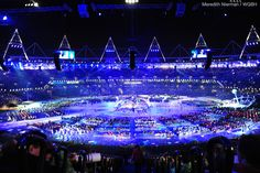 The Paralympic stadium glows violet during the Opening Ceremonies in London 2012
