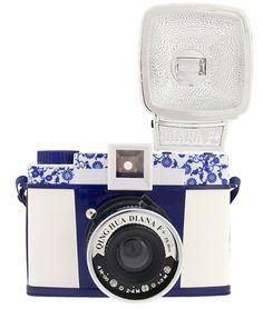Blue & white camera.