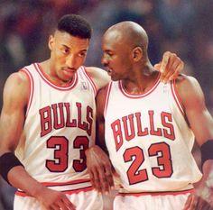 Scottie Pippen and Michael Jordan...classic Bulls