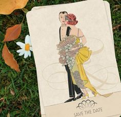 Vintage Wedding Invitation Save the Dates  Art Deco by GoGoSnap, $90.00