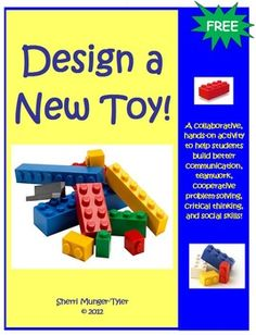 You have been hired by LEGOs to design and build a new toy! You have 90 minutes to build a prototype, design a magazine ad, and fill out a self-reflection journal with your Design Team! This collaborative, hands-on activity fosters team-building, critical thinking, problem-solving, communication, and social skills amongst your students! It also allows you to assess learning and communication styles. Learning Objectives, Teaching Tips, and Common Core State Standards all included. FREE! Design Team, Hands On Activities, Social Skills, Critical Thinking, Magazines Ads, Common Cores, Assessment Learning, 90 Minute, Team Buildings