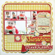 Sunshine watermelon or general theme scrapbook layout