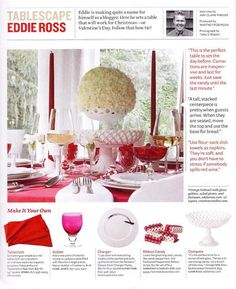 Eddie Ross tablescape - looks like the milk glass I bought from him! | House Beautiful - Dec/Jan 2010