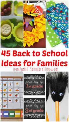 45 Back to School Ideas for Families {Share It Saturday at www.fun-a-day.com} - Ideas for arts & crafts, lunches, activities, first day photos, homeschooling suggestions, and even some advice for mom & dad